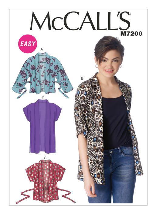 Mccalls Misses Kimono Jackets 7200 Out Of Print The Foldline
