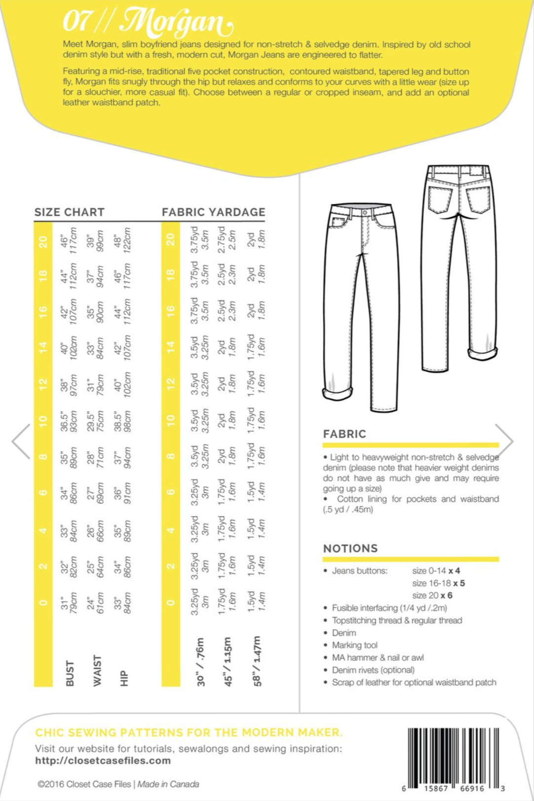 333b6ff893 Buy the Morgan jeans sewing pattern from Closet Case Patterns from The Fold  Line