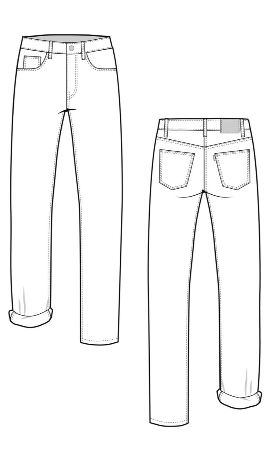 ac98eea7a3 Line Drawing Morgan jeans sewing pattern from Closet Case Patterns from The  Fold Line
