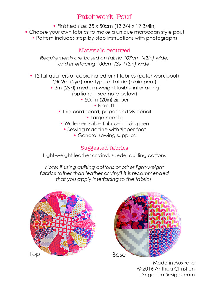 Patchwork Pouf The Foldline Custom Sew A Pouf