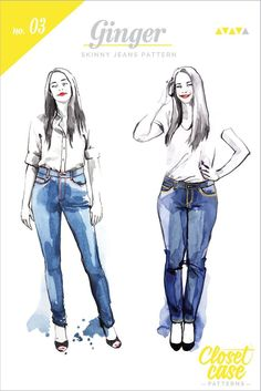 Buy the Ginger jeans sewing pattern from Closet Case Patterns From The Fold Line