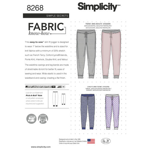 Simplicity Children's, Teen's and Adult's Slim Fit Knit Jogger 8268