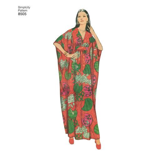 Simplicity 8505 Vintage 70/'s Sz 10-20 Caftan Dress Maxi Poncho Retro Pattern