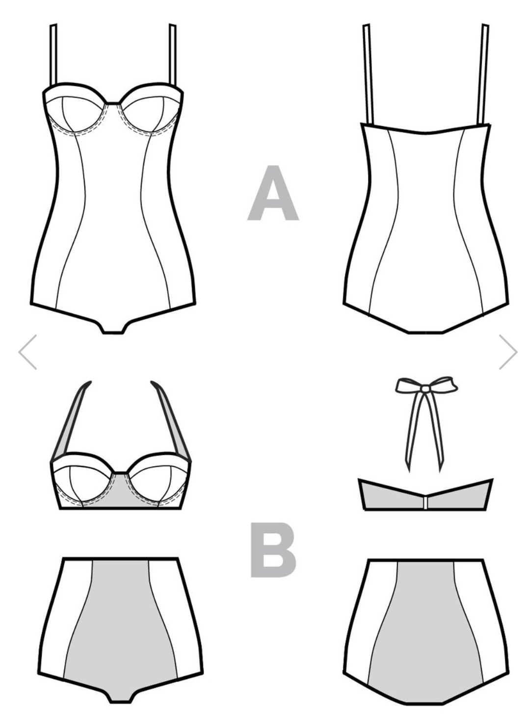6c22834635 The Sophie swimsuit and bikini pattern features a 3-piece balconette cup  offering great support. View A is a classic one-piece with a pronounced  hourglass ...