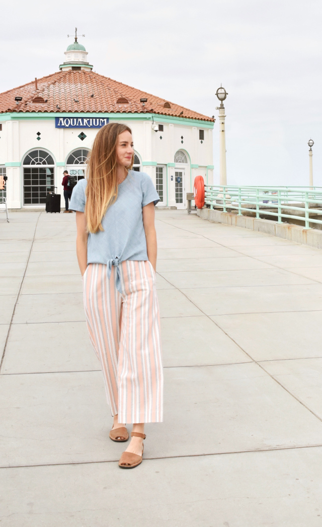 ce61986a3fd This outfit is what pastel dreams are made of! Sara of The Sara Project  went for the Emerson Crop Pants by True Bias and the Key Largo Top by Hey  June.
